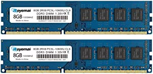 ROYEMAI 16GB Kit (2X8GB) DDR3 RAM, DDR3 1333 8GB PC3L-10600U DDR3L Dimm 2Rx8 1.35V/1.5V CL9 Notebook RAM Memory for Desktop Computer