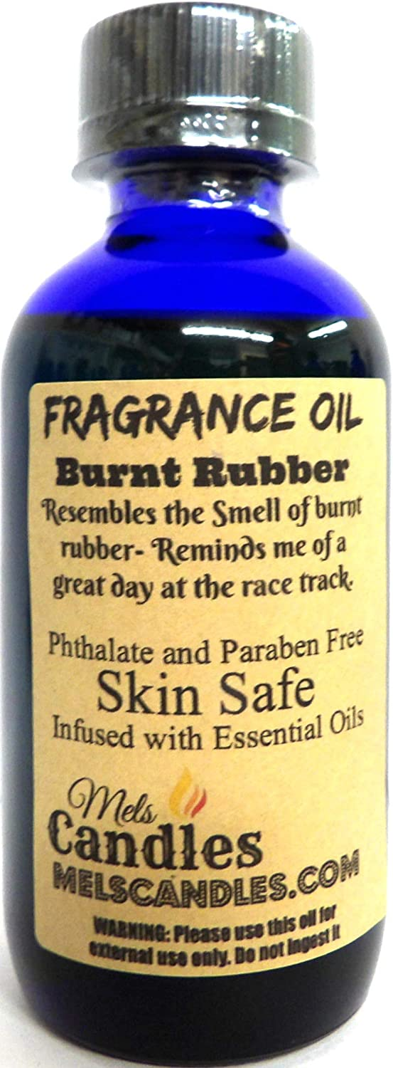 Burnt Rubber 4oz Blue Glass Bottle of Premium Grade Fragrance Oil, Skin Safe Oil, Candles, Lotions Soap & More