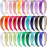 SIQUK 30 Pieces Satin Headbands 1 Inch Wide Non-slip Headband Colorful Headbands DIY Hairband for Women and Girls, 30 Colors
