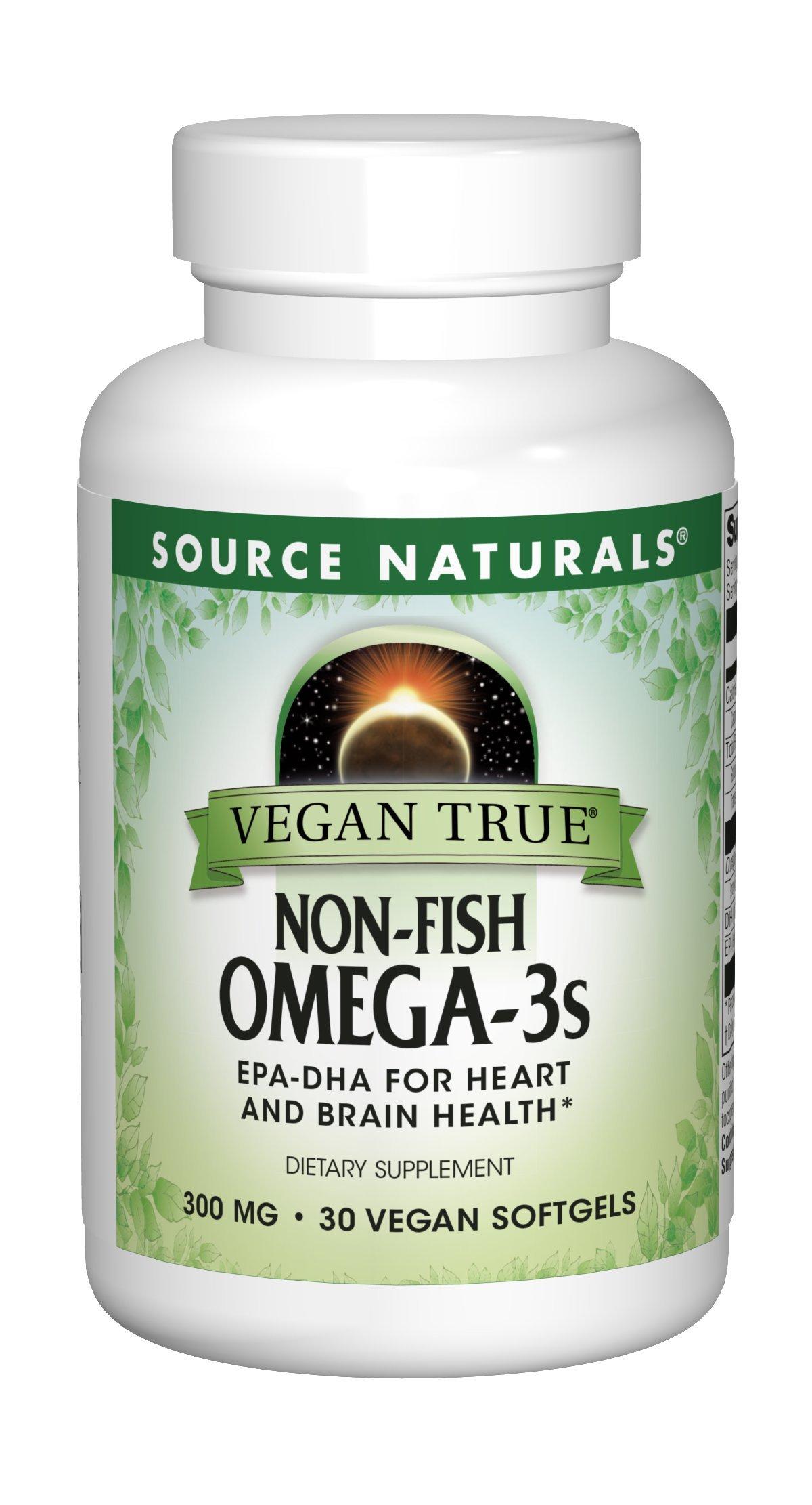 Source Naturals Vegan True Non-Fish Omega-3s EPA-DHA for Heart and Brain Health, (30 Capsules)