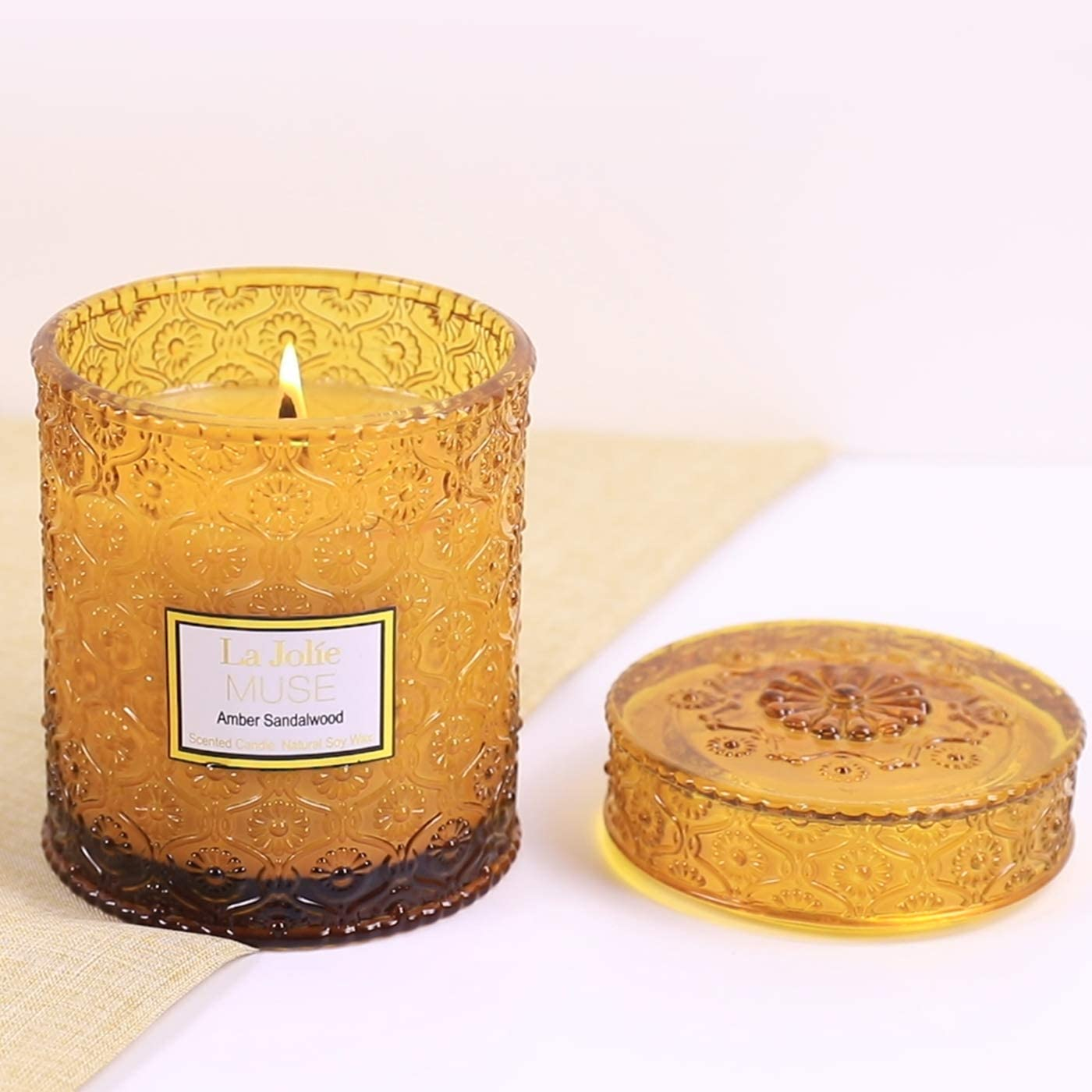 LA JOLIE MUSE Wood Wick 19.4oz Sandalwood Scented Candles Soy Wax Candle Large Glass Jar 90 Hours