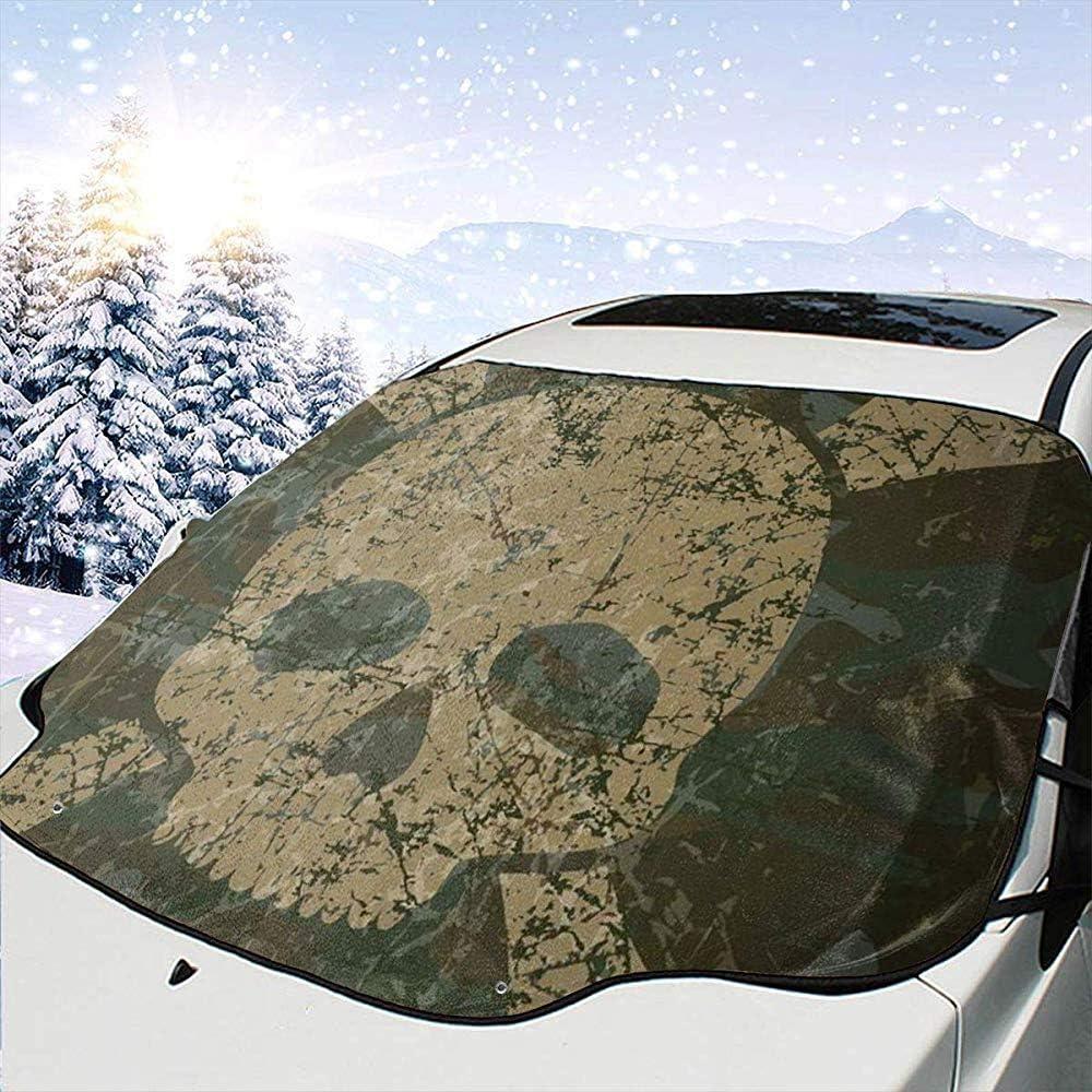 Abstrakte Textur mit Totenkopf-Muster im Alter von Rusty Grunge Style Einheitsgr/ö/ße Auto Front Windschutzscheibenabdeckung Faltbarer Sonnenschutz