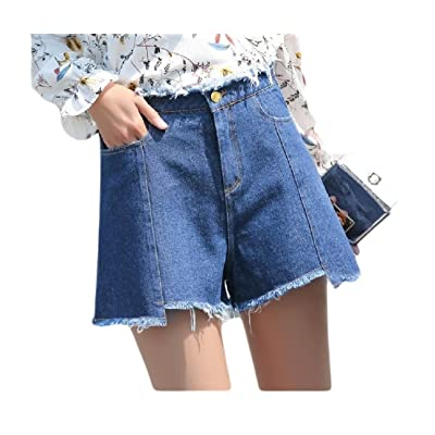 Abetteric Women's Hot Pants High Waist Relaxed-Fit Vogue Student Plus Size Shorts Jeans Dark Blue S