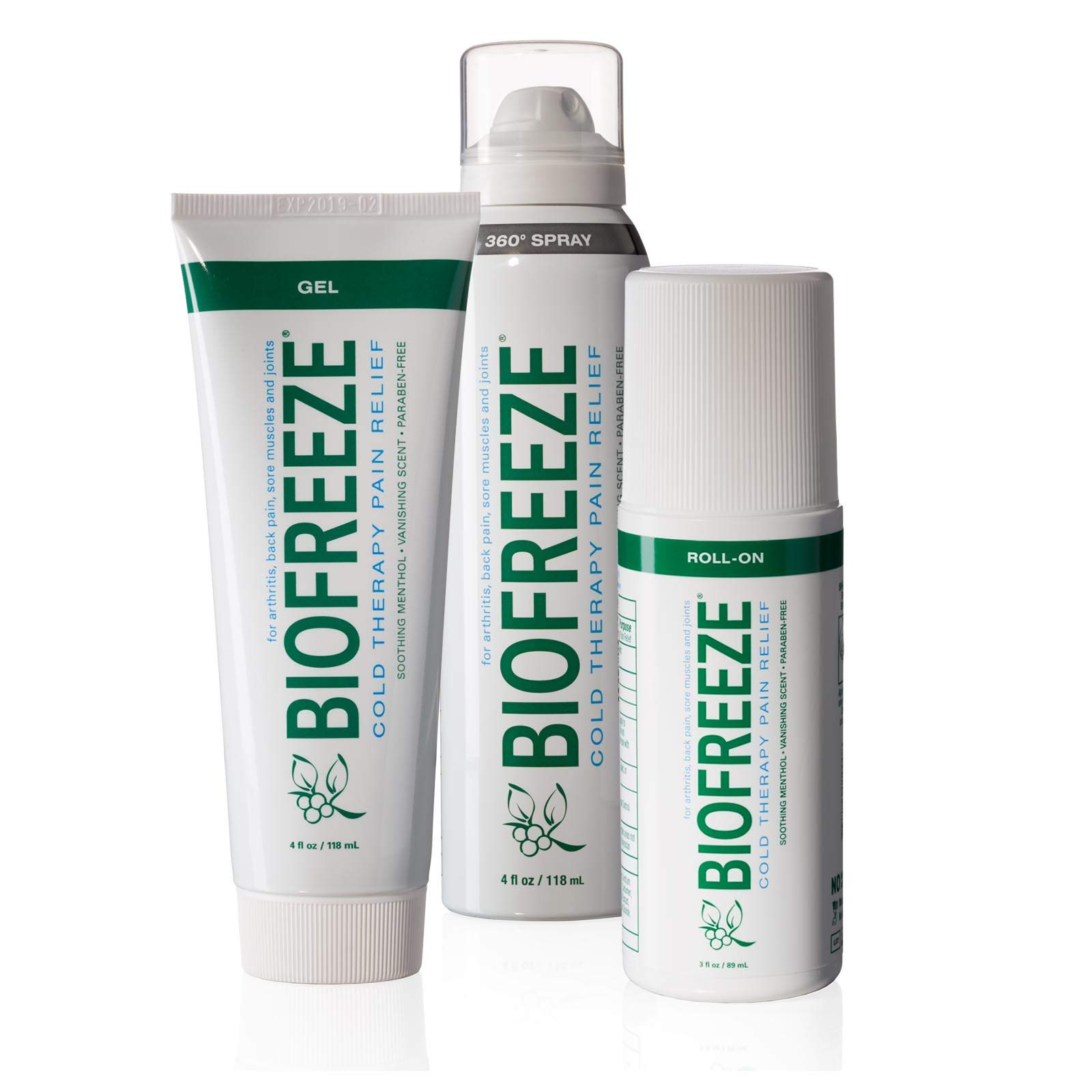 Biofreeze Pain Relief Gel Multi-Pack, Variety Pack Includes Tube, Spray, and Roll-On Formulas of the #1 Clinically Recommended Topical Analgesic (Packaging May Vary) by Biofreeze