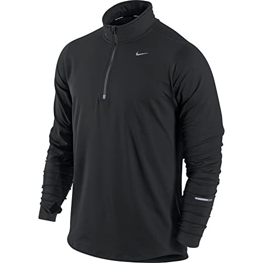 89eeda80 Nike Men's Element Half-Zip Men's Running Top Black/Reflective Silver Size  Small