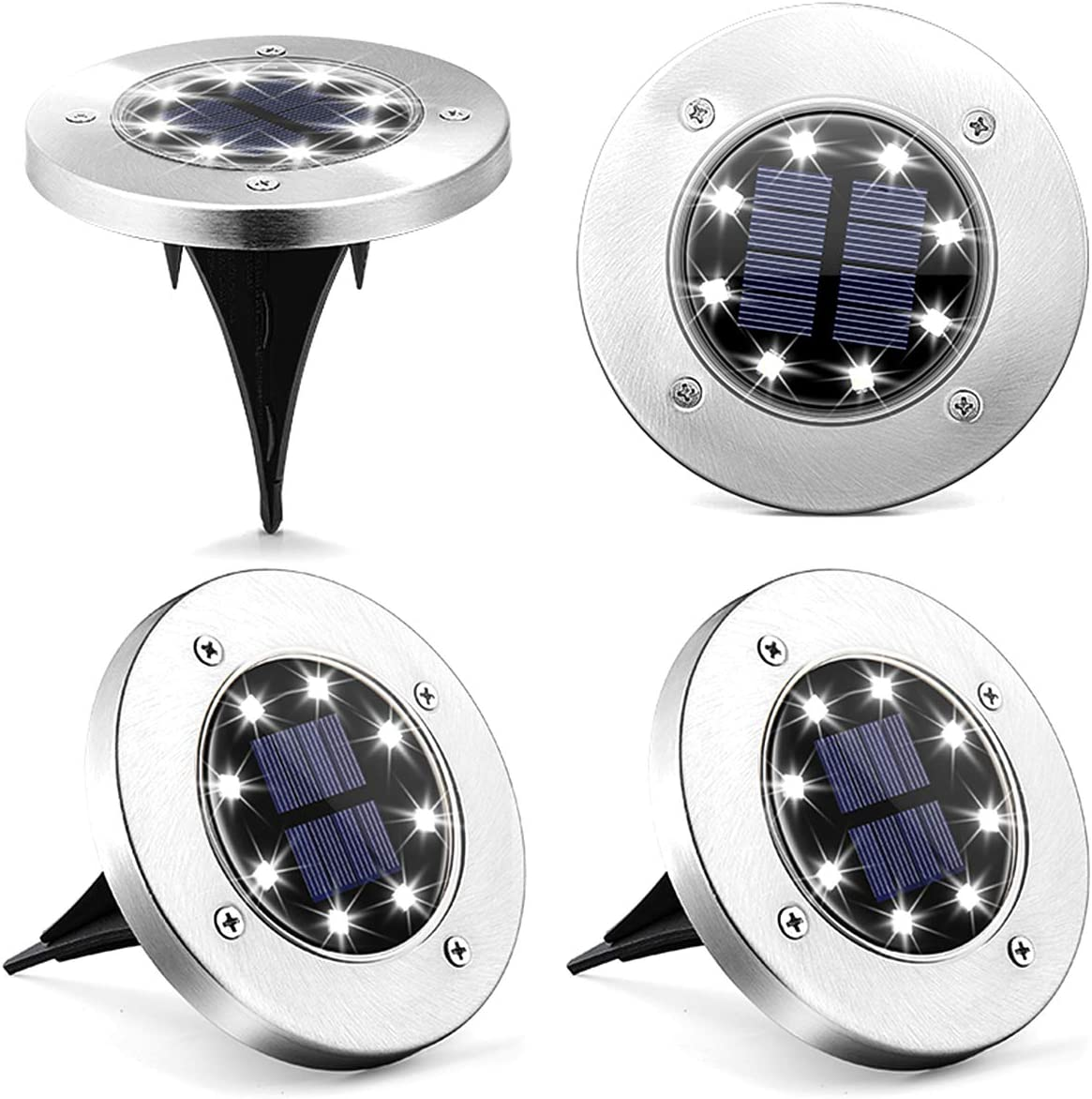 Solpex Solar Ground Lights 4 Pack, 8 LED Solar Powered Disk Lights Outdoor Waterproof Garden Landscape Lighting for Yard Deck Lawn Patio Pathway Walkway (White)