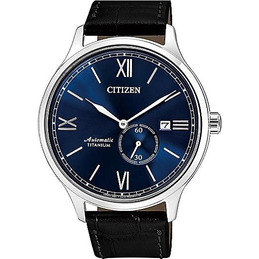 Citizen Super Titanium NJ0090-21L - Reloj automático de piel con esfera azul: Amazon.es: Relojes