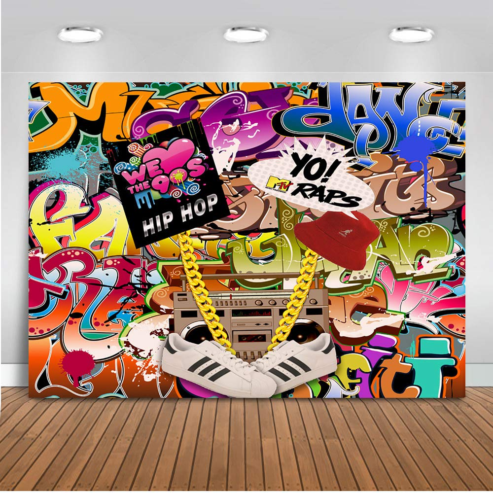 Mehofoto 90s Themed Backdrop Graffiti Hip Pop 90's Party Background 7x5ft Vinyl We Love The 90s Party Banner Decoration Supplies
