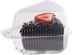 Hinged, Clear Single-Slice Pie/Cake/Cheesecake Container (High Dome Lid) - 100 Pieces
