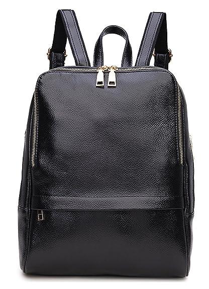 790342823a Greeniris Ladies Genuine Leather Backpack Women School Bag Book Bag Black