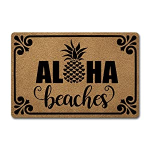 GXFC ZHAO Welcome Funny Door Mat Personalized Doormat with Anti-Slip Rubber Back (23.6 X 15.7 inch) Prank Gift Home Decor Area Rugs for The Entrance Way Indoor Mats (Aloha Beaches Pineapple)