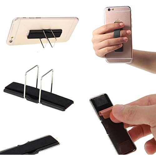 Fone-Stuff Elastic Finger Grip with Stand, Mobile Phone, iPhone. iPad Tablet and Kindle Holder in Black
