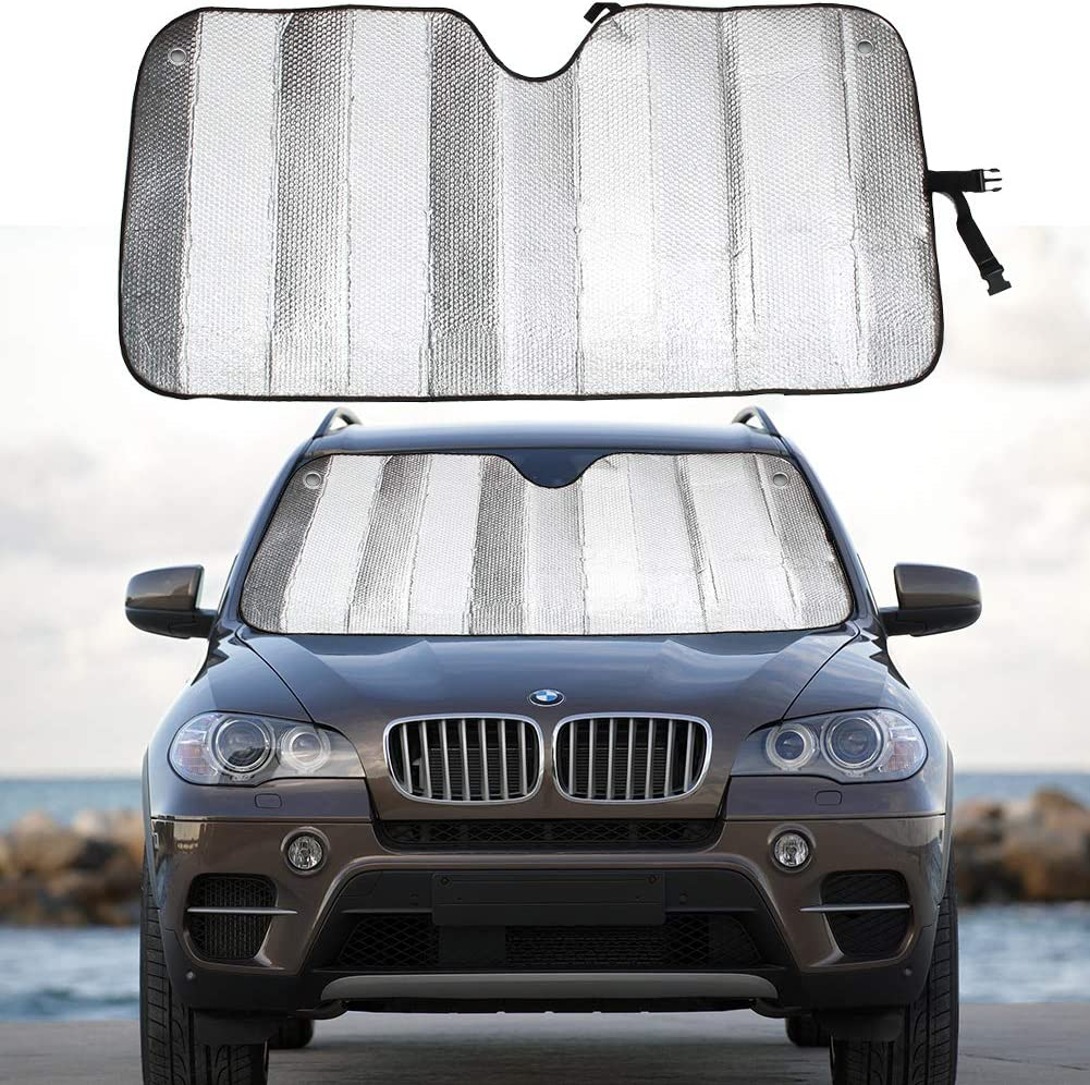"""MCBUTY Windshield Sun Shade for Car Silver Thicken 5-Layer UV Reflector Auto Front Window Sunshade Visor Shield Cover and Keep Your Vehicle Cool(55"""" × 27.5"""")"""