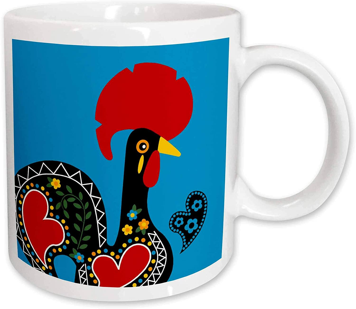 3drose Mug 160660 1 The Black Portuguese Rooster On A Blue Background With A Heart Ceramic Mug 11 Ounce Kitchen Dining