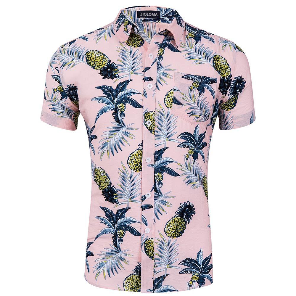 ZIOLOMA Mens Short Sleeve Tropical Pineapple Shirt Beach Hawaiian Shirt