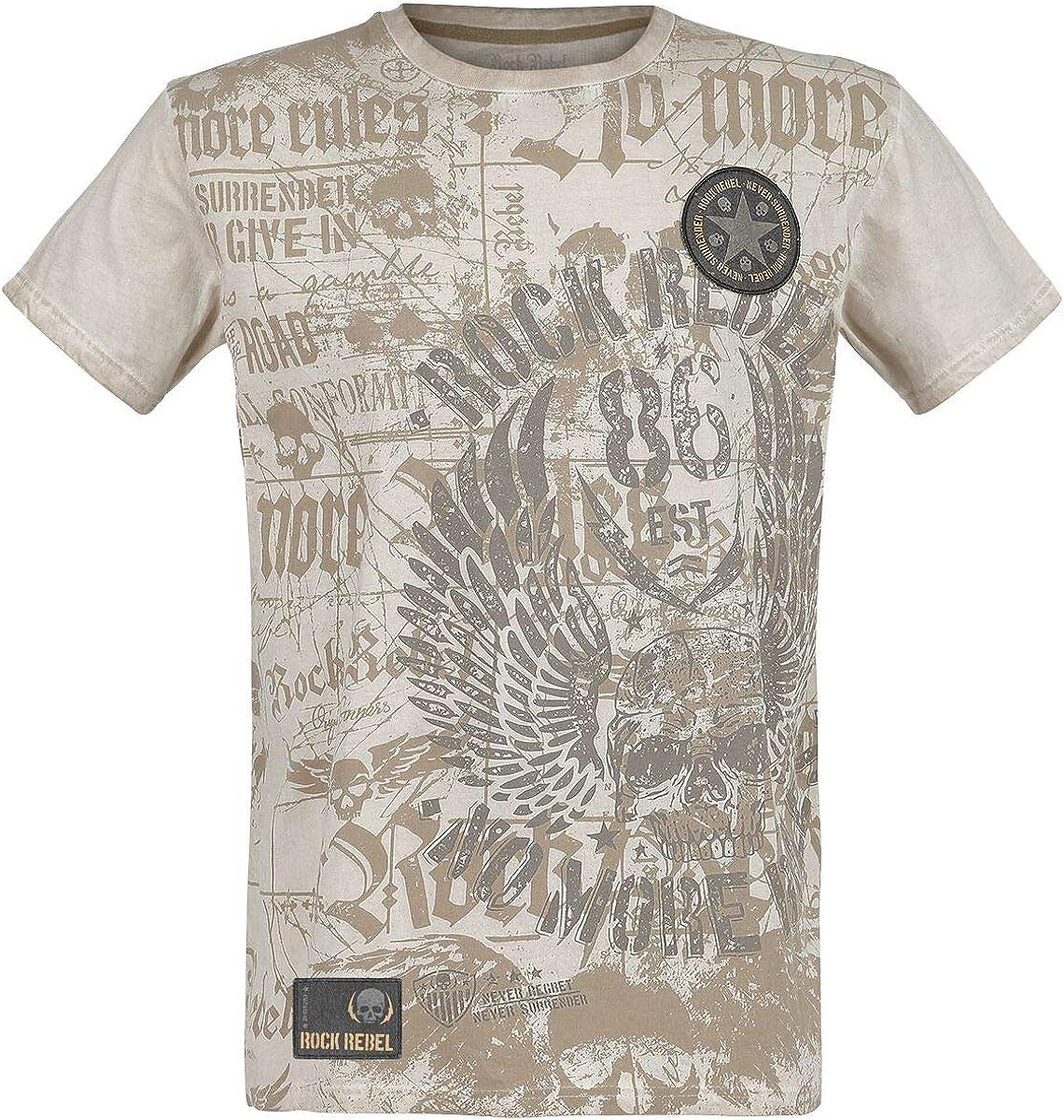 Rock Rebel by EMP Rebel Soul Hombre Camiseta Beige S, 100% algodón, Regular: Amazon.es: Ropa y accesorios