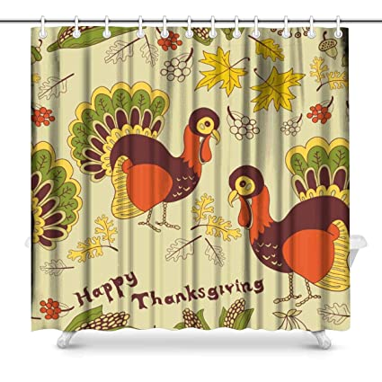 Amazon INTERESTPRINT Thanksgiving Turkey Bathroom Shower