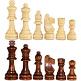 """ASNEY Wooden Chess Pieces, Tournament Staunton Wood Chessmen Pieces Only, 3.15"""" King Figures Chess Game Pawns Figurine…"""