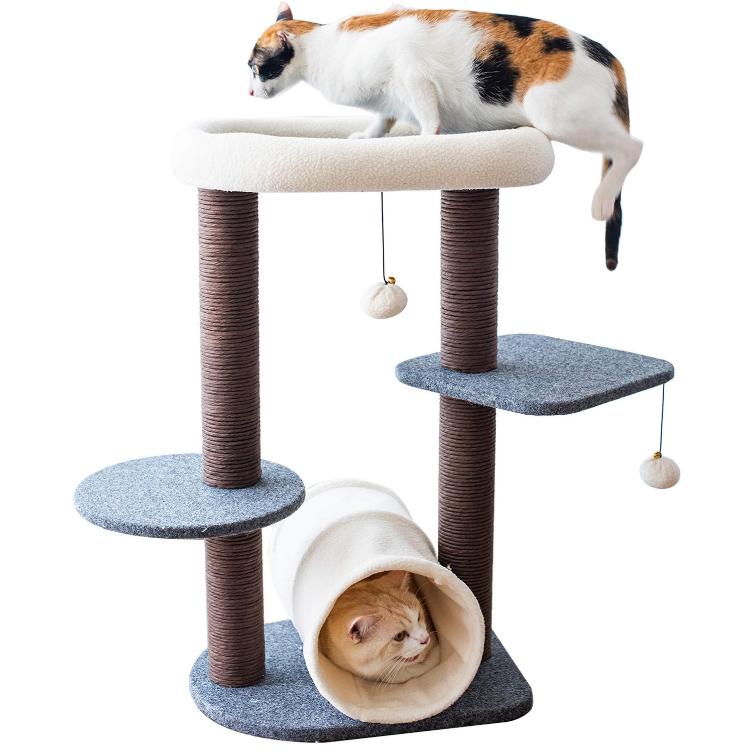 PetPals Cat Tree Cat Tower for Activity with Tunnel and Toy Ball, Gray by PetPals