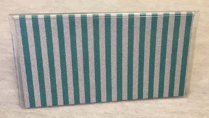 Amazon Vinyl Checkbook Cover Glitter Teal Silver Stripe