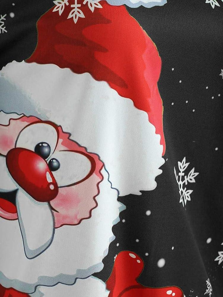 BaZhaHei-Navidad Moda impresión Digital Camisetas de Mujer Feliz ...