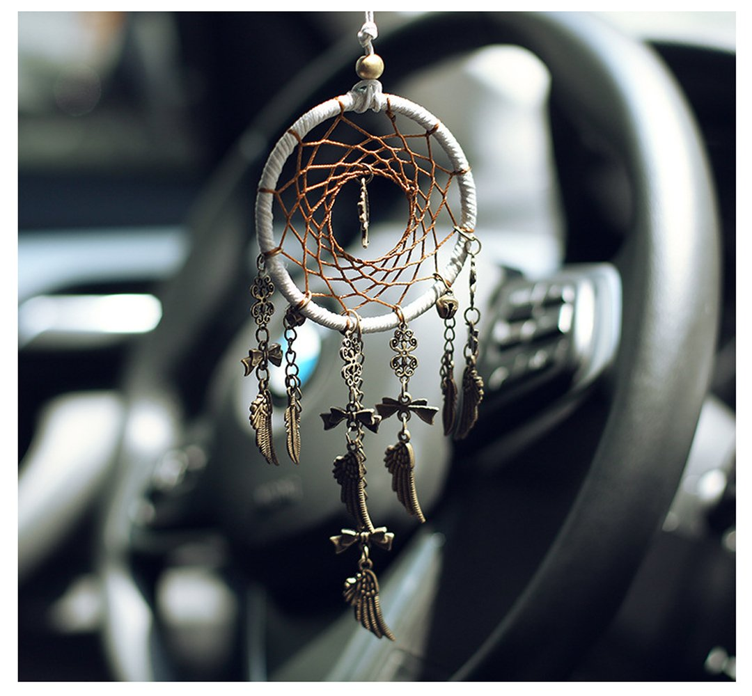 WCHUANG Vintage Bell Dream Catcher with Feathers Wall Hanging Ornament Wedding Party Favor, Baby Shower, Birthday Gift