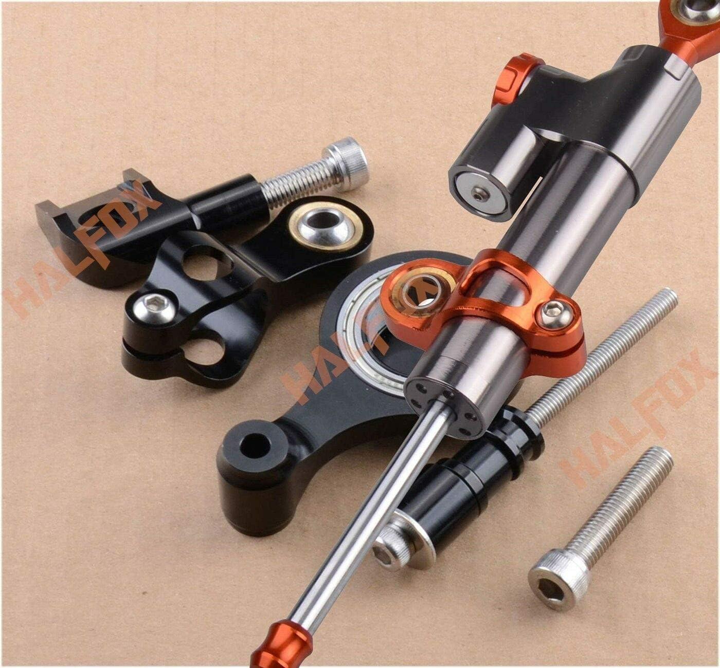 FidgetGear CNC Steering Damper Stabilizer and Bracket for Yamaha YZF R6 06-16 R1 09-12 Gold Gray+Orange