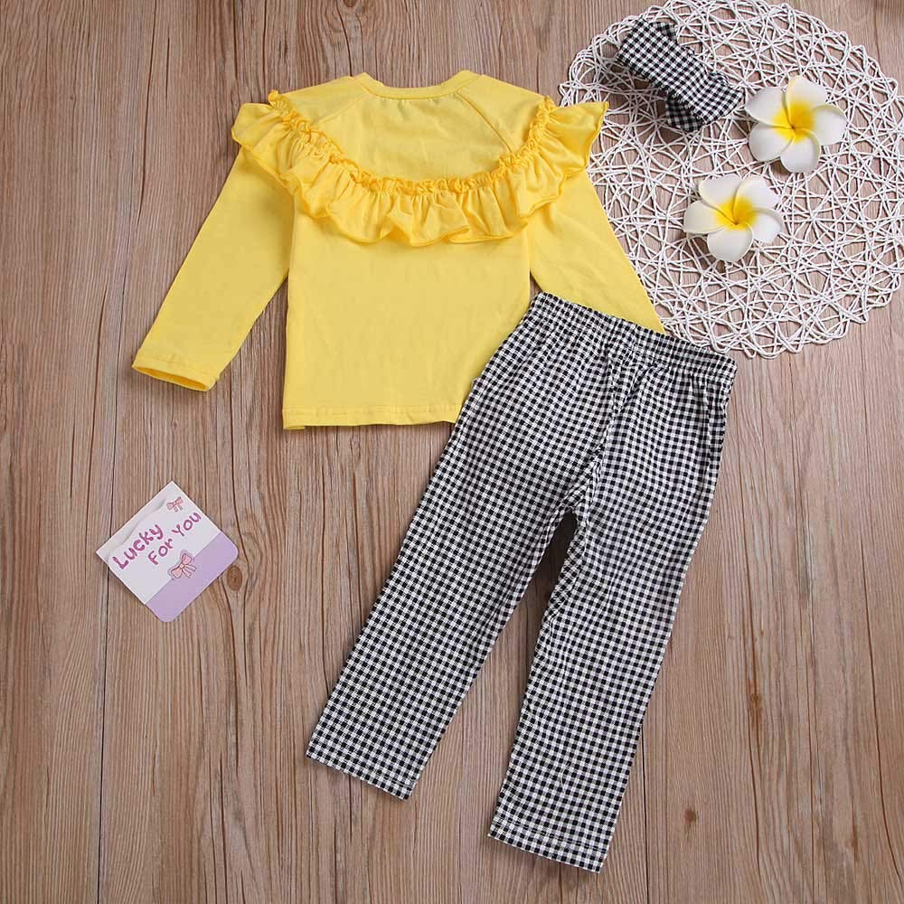NUWFOR Toddler Baby Long Sleeve Solid Ruffle Tops+Plaid Pants+Headband Outfit Clothes (Yellow,18-24 Months by NUWFOR (Image #3)
