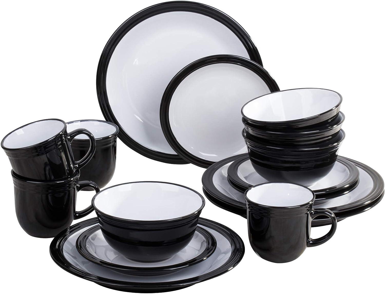 16 Piece Black Camden Dinner Set Waterside