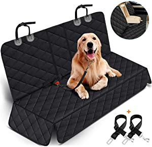 Yuntec Dog Car Seat Cover, Dog Seat Cover for Back Seat Car Seat Protector for Dogs Pets Waterproof Pet Seat Cover with 2 Dog Seat Belts, Non-Slip Bench Seat Covers Armrest for Cars Trucks SUVs