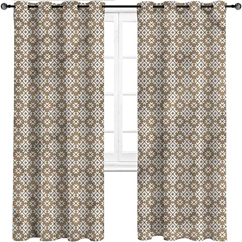 HouseLookHome Window Curtain Panel Beige Energy Saving Blackout Curtains Diamond Pattern Dots Home Office Artistic D cor 2 Grommet Top Curtain Panels, 52 W x 84 L