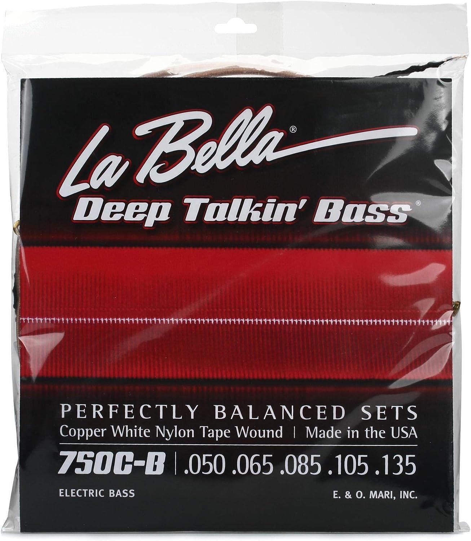 L La Bella 750CB 750C-B Copper White Nylon Tape Wound 5-String