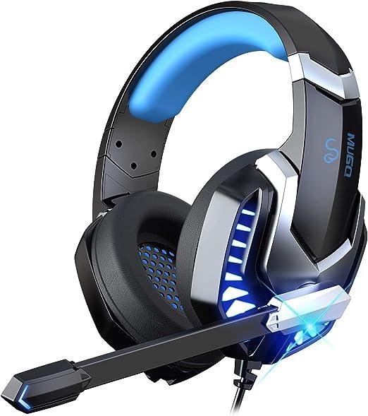 iporachx Auriculares Gaming, Cascos Gaming con Micrófono con y luz LED, Antirruido, Sonido Envolvente, Auriculares con Cable Compatible con PS4 / ...