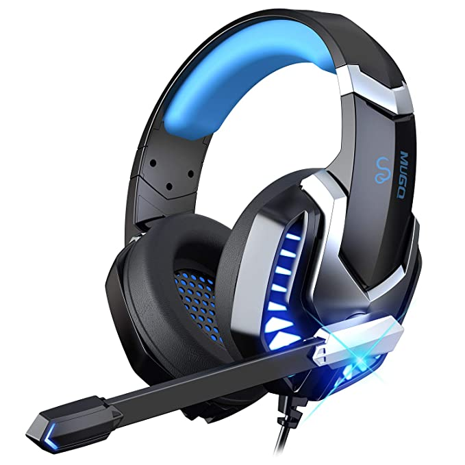 iporachx Auriculares Gaming, Cascos Gaming con Micrófono con y luz LED, Antirruido, Sonido Envolvente, Auriculares con…
