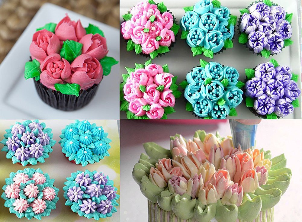 FireBee Russian Piping Tips Set 24 Pcs for Cake Decorating Supplies Kit with 12 Large Flower Icing Nozzles 10 Disposable Pastry Bags 2 Tri-Color Couplers by FireBee (Image #6)