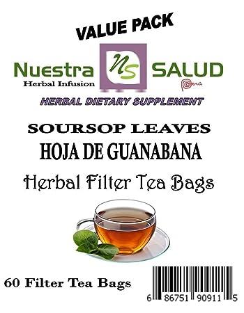 Amazon.com : Soursop Leaves Filter Tea Bags Hoja de Guanabana Te (60 ...
