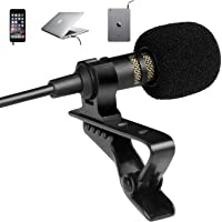 Professional Grade Lavalier Lapel Microphone - Omnidirectional Mic with Easy Clip On System - Perfect for Recording…
