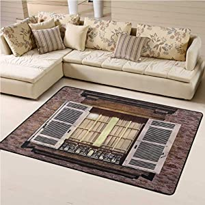 Printed Area Rug Country Soft Indoor Mat Decorative Carpet Vintage Style Stone House 6' x 9' Rectangle