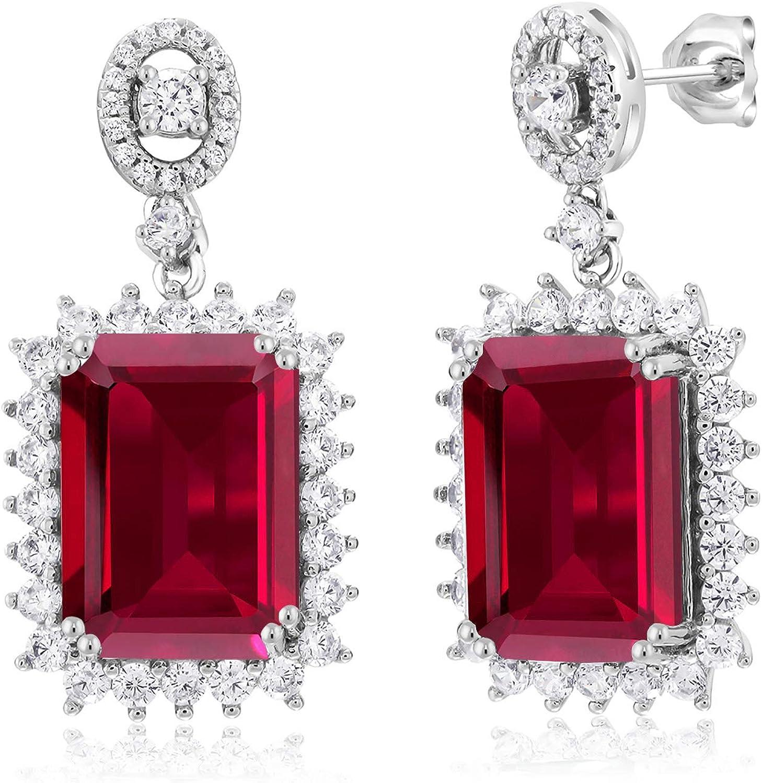 925 Sterling Silver Filled Ladies Red Ruby Gemstone CZ Drop//Dangle Earrings