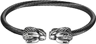 JewelryWe Gioielli da Uomo Braccialetto Acciaio Inossidabile Aperto, Pendente Testa di Drago, Colore Argento Nero (con Borsa Regalo)