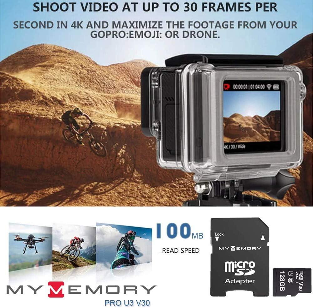 4K Ultra-HD V30 A1 UHS-1 U3 Carte M/émoire Ultra-Rapide microSDXC Adaptateur 100 Mo//s MyMemory Pro 128 Go Micro SD SDXC
