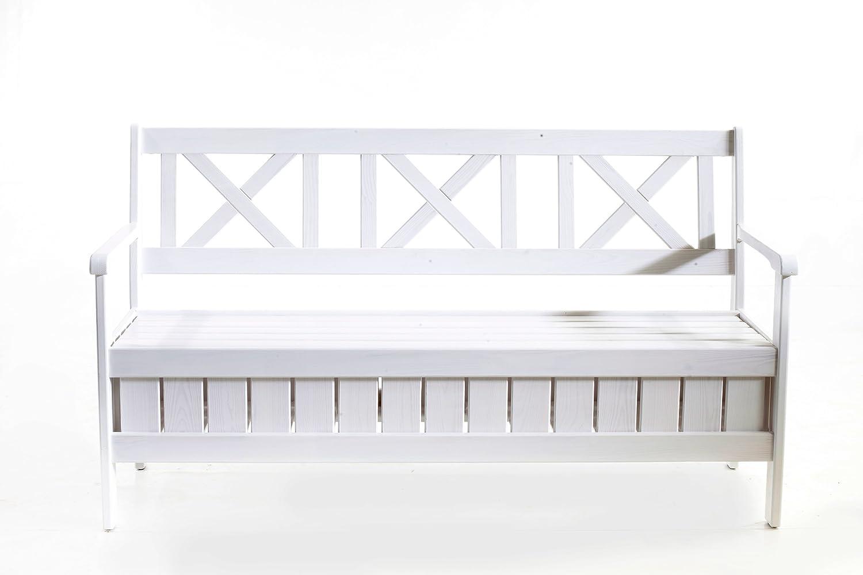 Ambientehome Cassapanca 157cm Bianco da panca da giardino panchina in legno massiccio Sparmeile GmbH