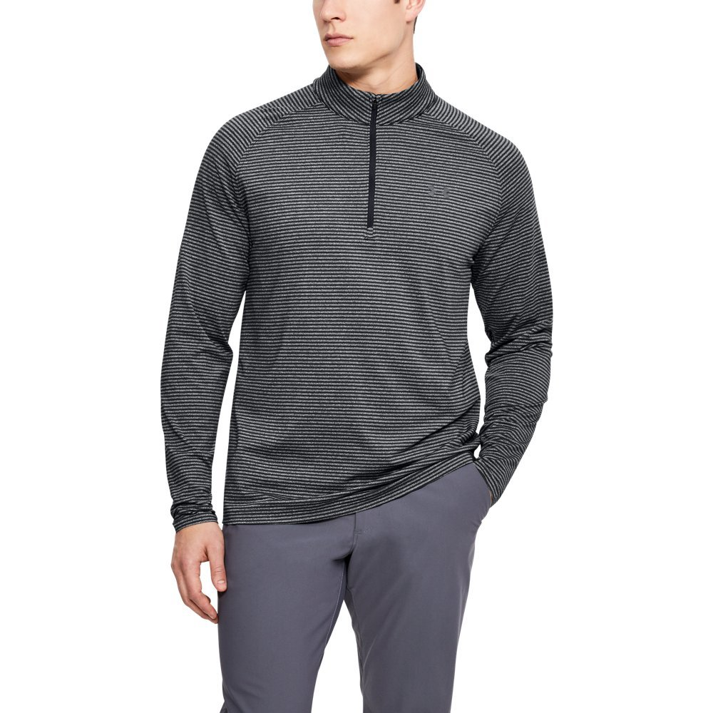 Under Armour Men's Playoff 1/4 Zip Shirt, Black /Rhino Gray, Small