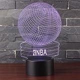 3D Lampes Illusions Optiques NHsunray 7 couleurs Changement Tactile Interrupteur Lumière De Nuit Art Déco Faites Une Ambiance Romantique Dans La Chambre Chambre D'enfants Salon Bar Café Restaurant (Basketball NBA)