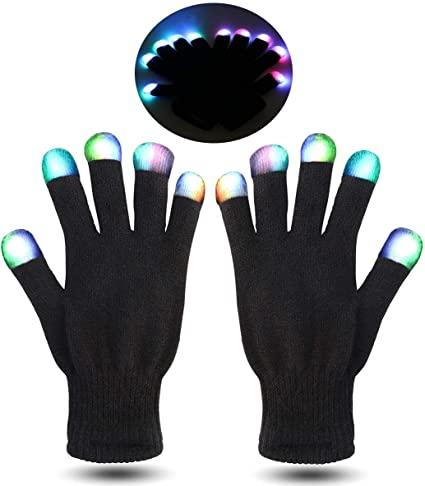 LED Gloves for Kids,Lighted Gloves with 3 Colors 6 Modes for Dance Costumes Kids Games Light-up Party