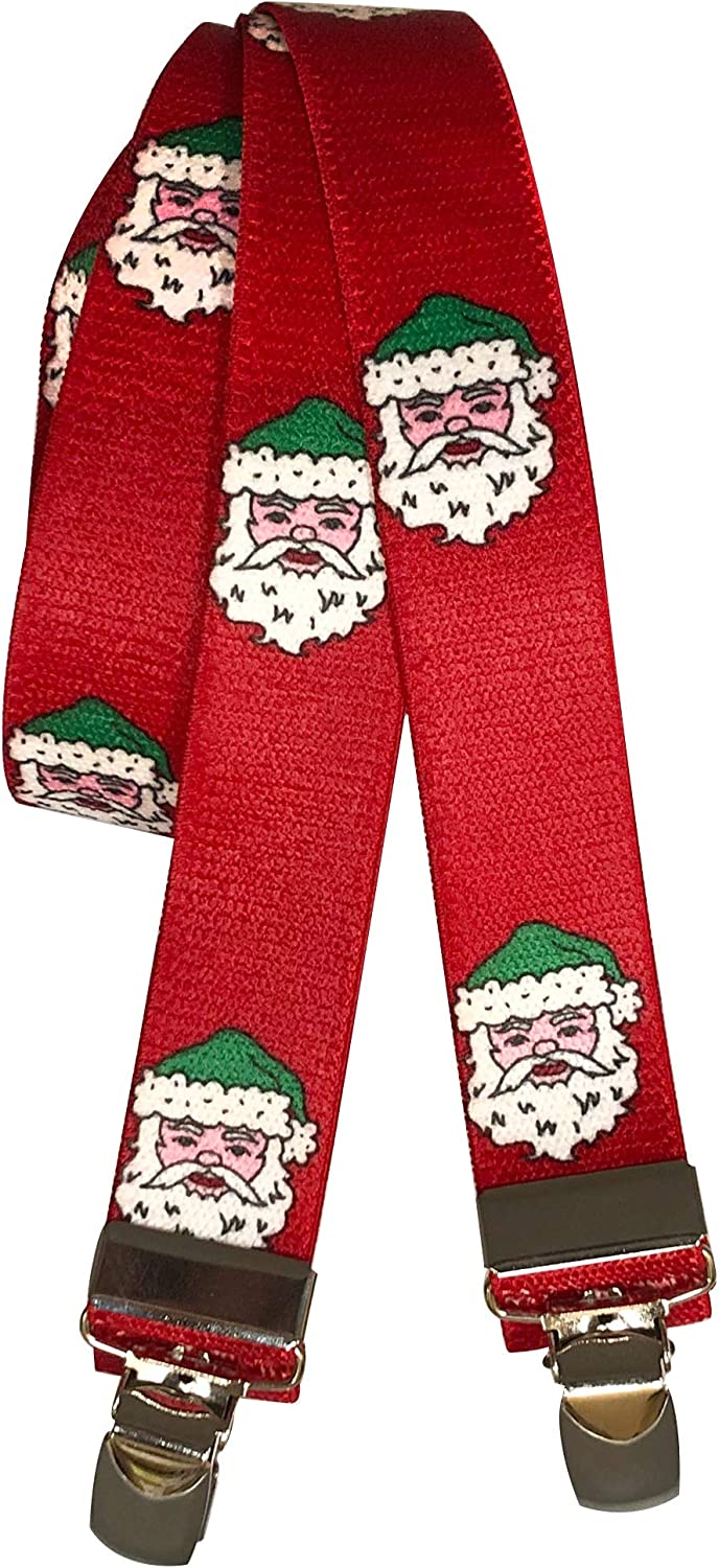 36 inch Kids Suspenders Red Christmas Santa Claus Head Face in Hat X-Back