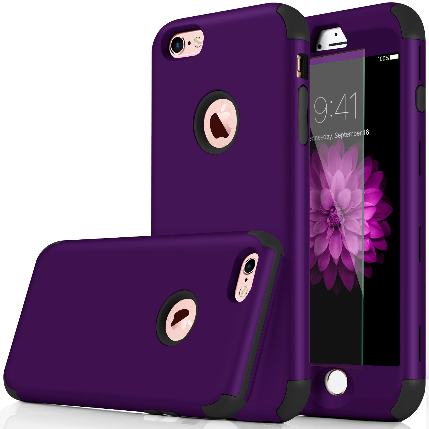 iPhone 7 Case, Qusum 3-in-1 Shockproof Full Body Coverage Protection Hard Slim iPhone 7 Case with Tempered Glass Screen Protector for Apple iPhone 7 4.7' Inch (Purple)