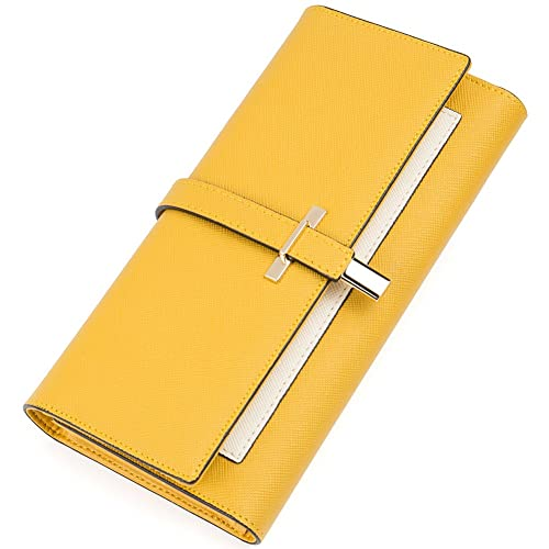 Clearance RFID Blocking Leather Wallet for Women Slim Clutch Purse Long Designer Ladies Credit Card ...