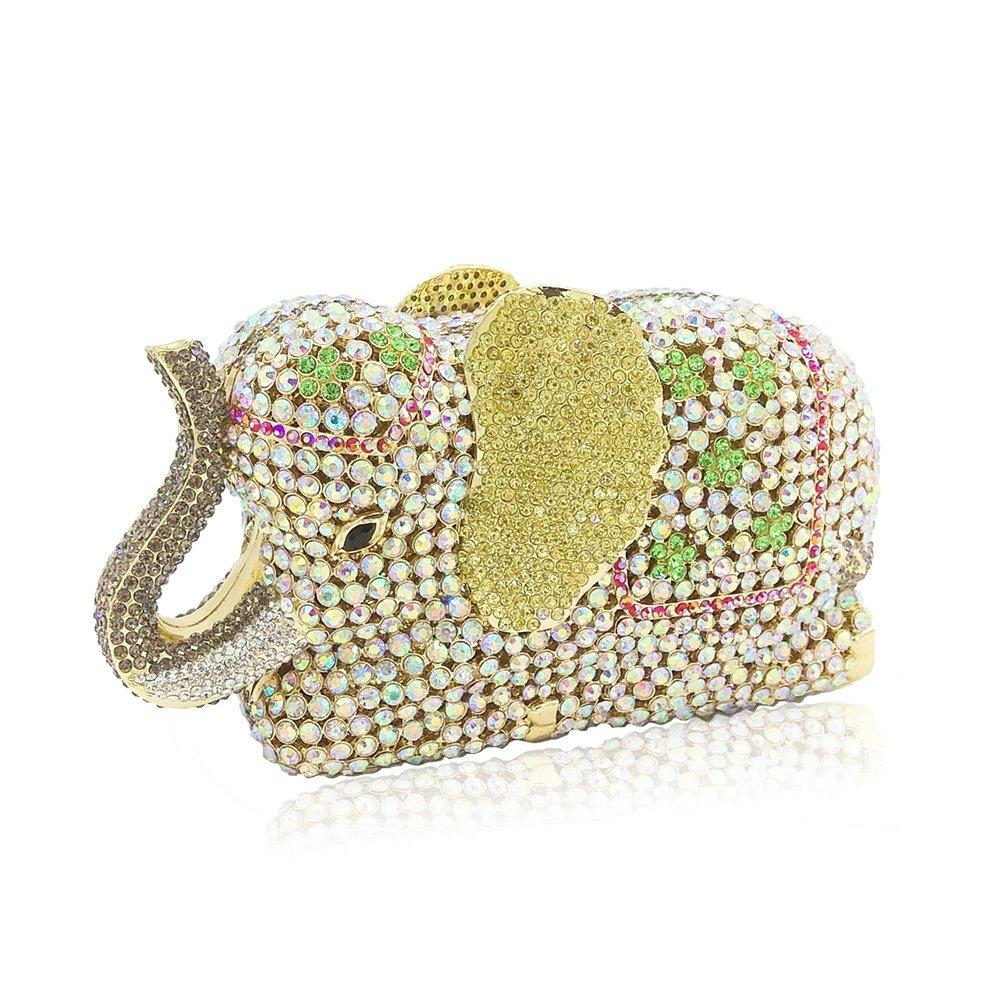 Elephant Evening Clutches Bags Metal Minaudiere Handbags Clutch Bridal Wedding Party Shoulder Purse (Multicolored)