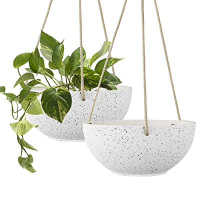 Speckled White Hanging Planter - 8 Inch Indoor Outdoor Hanging Plant Pot Basket, Flower Pot with Drainage Hole, Set of 2: Garden & Outdoor